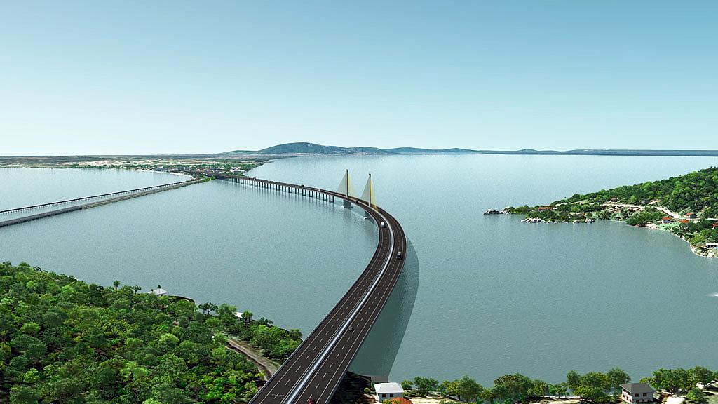 Perspectiva da ponte estaiada de Laguna: parte do projeto de duplicação da BR-101.