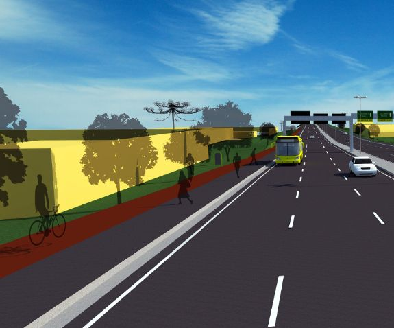 Projeção de como ficará trecho urbano de rodovia após receber calçadas e ciclovias