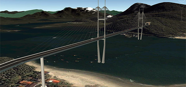 Computação gráfica de uma eventual ponte ligando Matinhos a Guaratuba