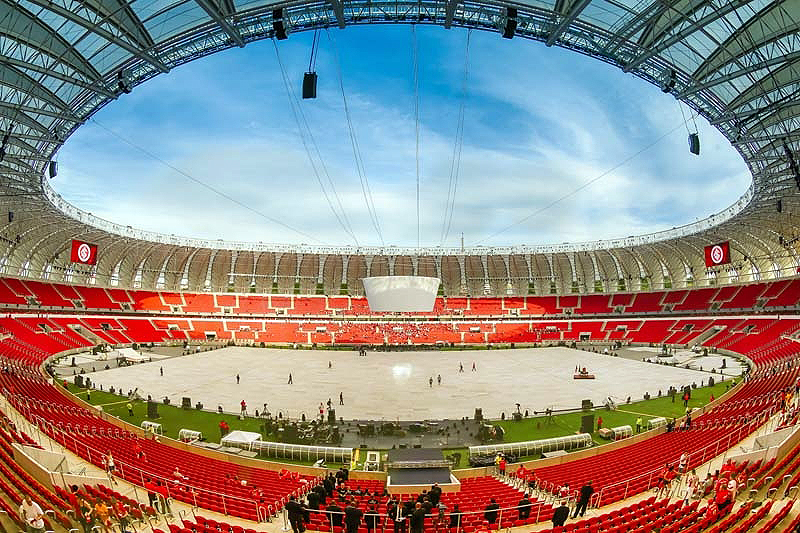 Beira-Rio: emprego de 26 mil m³ de concreto para as novas estruturas do estádio e de 15 mil m³ de peças pré-moldadas