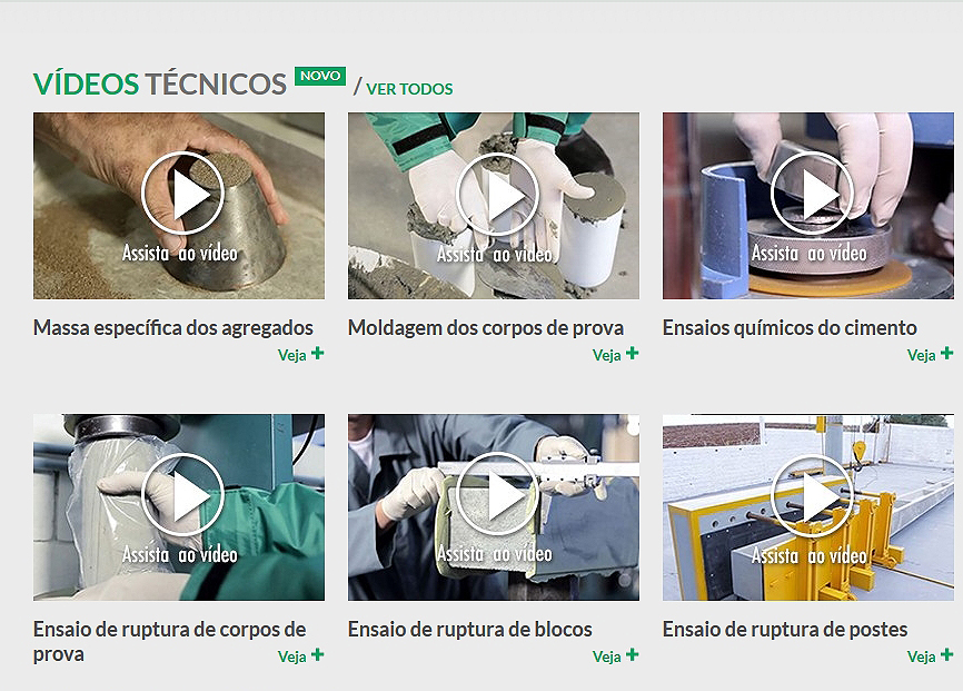 Onze vídeos sobre ensaios de cimento e concreto já estão disponíveis no site da Itambé