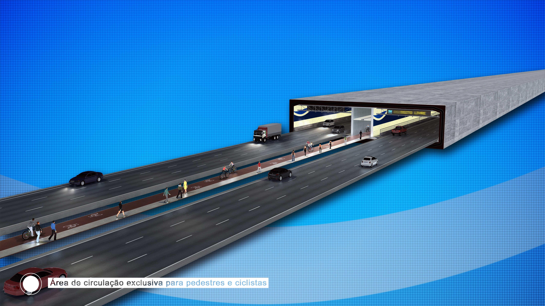 Desenho mostra como será o interior do túnel, com pistas em dois sentidos, ciclofaixa e área de circulação para pedestres.