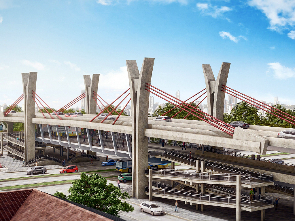 Projeção de como ficará o viaduto quando pronto: único de Porto Alegre com dois pavimentos