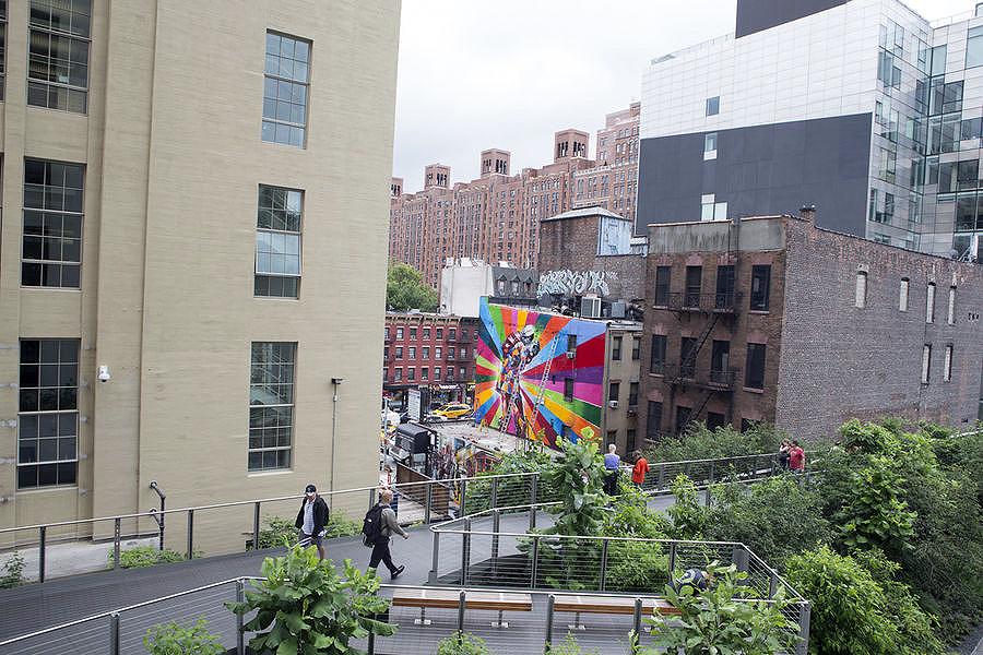 Em Nova York, arte de Eduardo Kobra é vista do High Line – o parque suspenso da cidade - Crédito: Eduardo Kobra