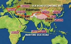 Mapa mostra por onde passará a nova Rota da Seda: em amarelo a marítima e em vermelho a terrestre