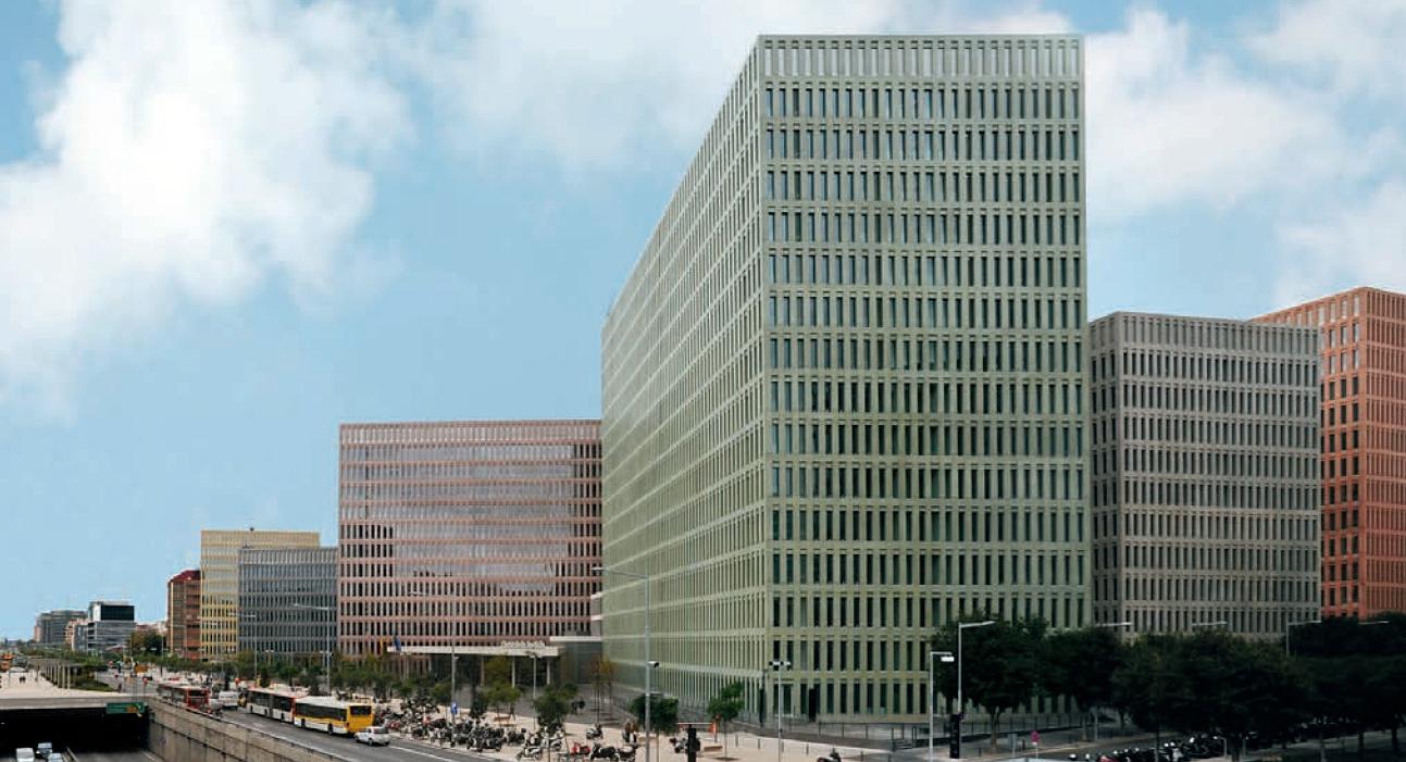 Cidade da Justiça, em Barcelona: arquitetura que se destaca por causa do concreto colorido
