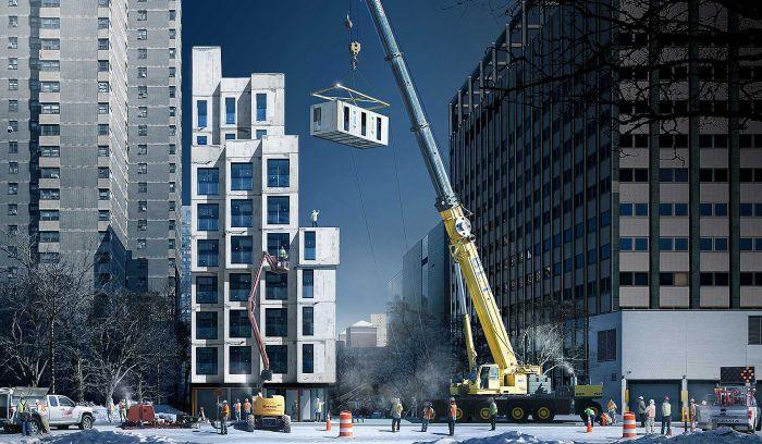 My MicroNY: as unidades se encaixam uma a uma, dando forma ao edifício.