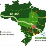 Mapa da rota da Transoceânica: obra pode custar até R$ 34 bilhões, por causa de questões ambientais