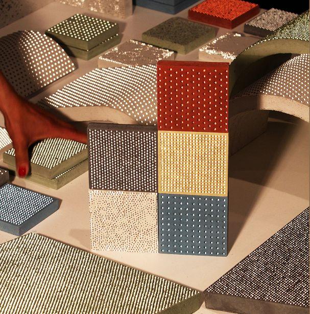 Nos elementos de decoração, BlingCrete serve como revestimento