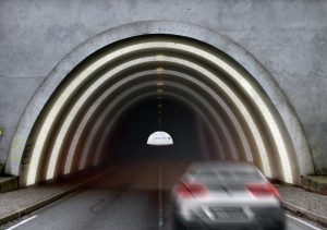 Aplicação de Blingcrete em túnel alemão: material emite luz captada do sol, economizando energia elétrica