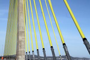 Mastro central da Ponte de Laguna chega a 66 metros de altura