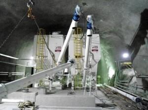 Silos facilitam a mobilidade dentro dos túneis e dispensam o entra e sai de caminhões