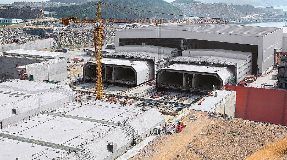 Estruturas pré-moldadas para construir o maior túnel submerso do mundo: 6,7 quilômetros de extensão
