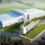 Projeção da fábrica da Danone, em Poços de Caldas-MG: além de espelho d'água, telhado verde