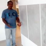 Ronaldo Martins, na Feira do Construtor: material pode substituir a argamassa, quando aplicado sobre blocos de concreto