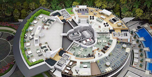 Recorte da planta do Porsche Tower: elevadores transportarão os carros para dentro do apartamento