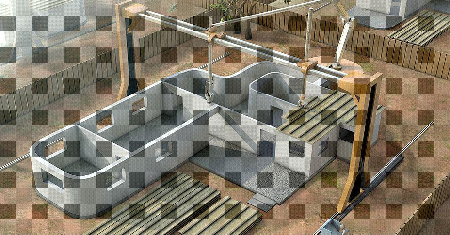 Impressora 3D utiliza concreto autoadensável para erguer paredes e assentar as lajes