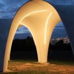Construções curvas, com iluminação integrada: uma das possibilidades do C3 Carbonbeton