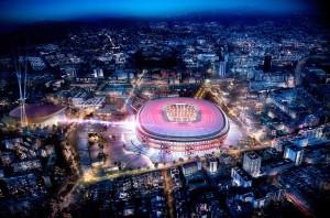 Projeção dos anéis do Nou Camp Nou, onde o torcedor será o protagonista