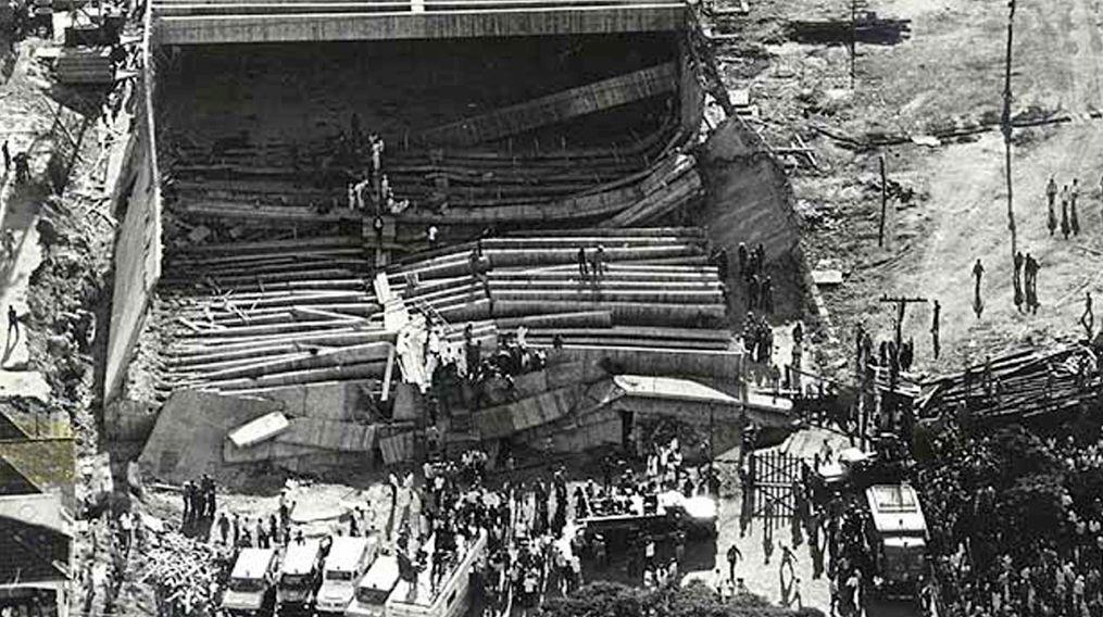 Desabamento do pavilhão da Gameleira, em Belo Horizonte: colapso das lajes causou 69 mortes