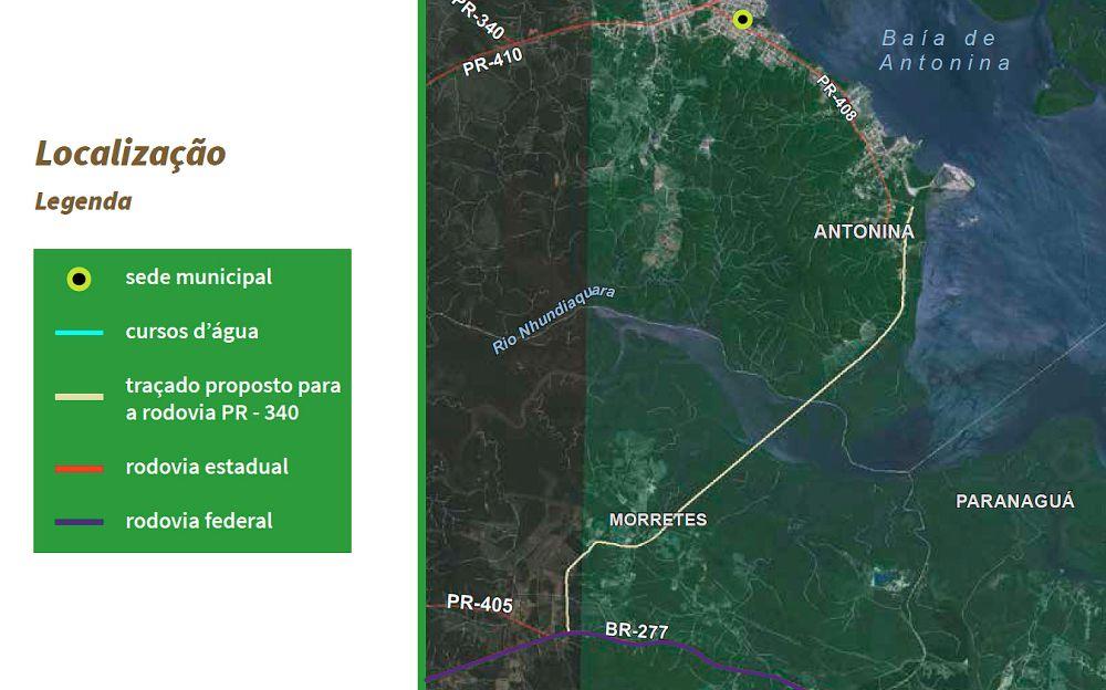 Infográfico com o traçado do novo trecho da PR-340, com pouco mais de 10 quilômetros
