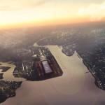 À beira do estuário do rio Tâmisa, em Londres, pretende-se construir o maior aeroporto do mundo