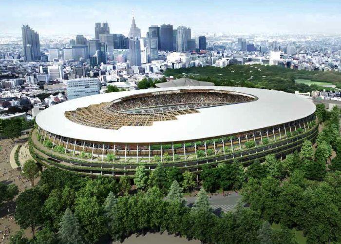 Projeção do estádio olímpico, com cobertura de madeira: inspiração nos templos xintoístas