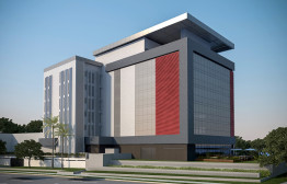 Projeção da nova sede do SindusCon-PR: prédio será autossuficiente em energia elétrica