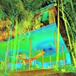 Escaneamento da Casa de Vidro: laser capta variações de temperatura dentro das estruturas, facilitando a detecção de patologias