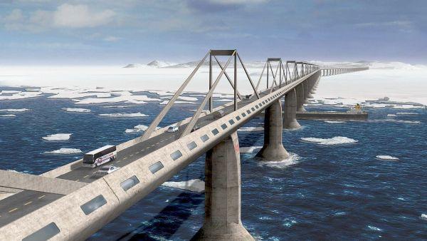 Desafio da rodovia é construir uma estrutura que possibilite cruzar o estreito de Bering, entre a Rússia e o Alasca, nos Estados Unidos