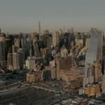 Canteiro de obras do Hudson Yards: edifícios montados sobre estruturas de aço