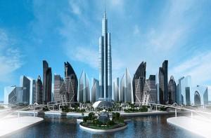 Projeção de quando Khazar Islands ficar pronto: no centro do arquipélago ficará o prédio mais alto do mundo
