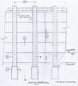 Croqui do muro EUA-México, pensado pelo engenheiro estrutural Ali F. Rhuzkan