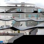 Projeção com corte de como ficará o skatepark quando construído