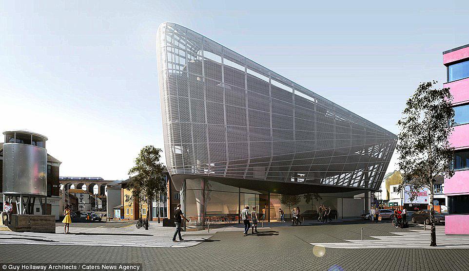 Vista externa do prédio, que será envolvido por uma estrutura metálica para favorecer a ventilação