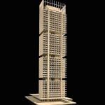 Projeção da estrutura de madeira do prédio, que será sustentada por grandes pilares de concreto