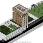 Recorte mostra simbiose entre concreto e madeira na estrutura do prédio