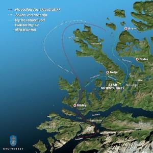 Mapa do desvio que o túnel vai permitir que os navios façam, evitando o Mar de Stadhavet