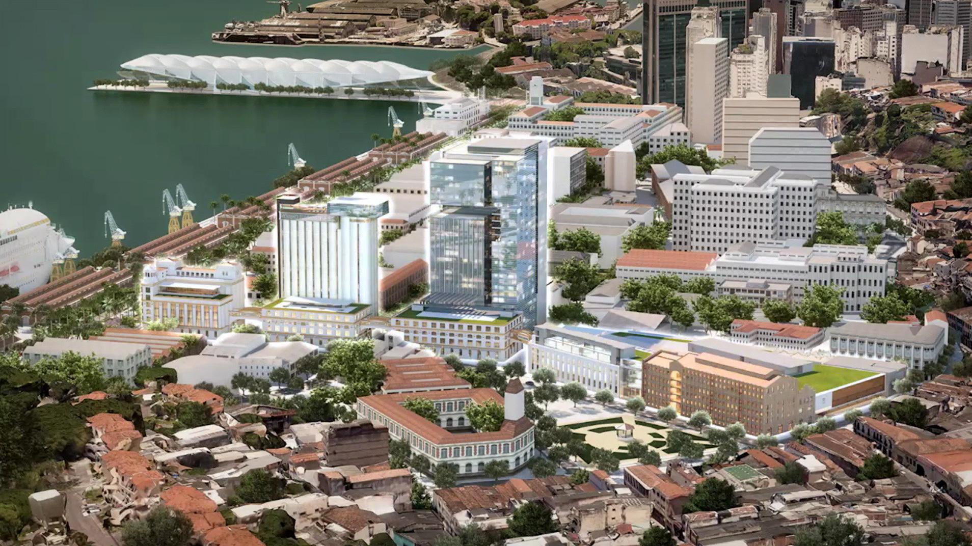 Projeção mostra silo do Moinho Fluminense, que seria transformado em hotel, mas não saiu do papel