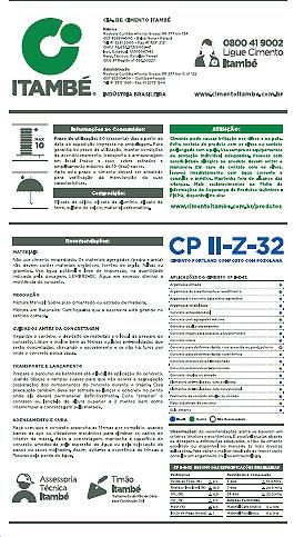 Informações que vêm no verso da embalagem de cimento Itambé: aplicações de uso, além de uma linha 0800 para falar diretamente com a empresa