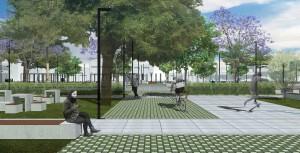 Além do pavimento permeável, o projeto arquitetônico da praça prevê áreas verdes