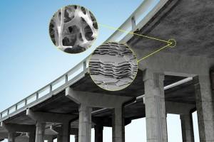 Reprodução mostra o que a pesquisa busca: organizar as estruturas de concreto para que elas não se formem aleatoriamente, mas organizadamente. Crédito: Christine Daniloff/MIT.
