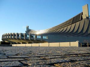 Ginásio Nacional de Tóquio: projetado em 1964, por Kenzo Tange, vai sediar competições das olimpíadas de 2020. Crédito: Pinterest.