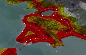 Mapa revela trajeto a ser percorrido pelo BRT na Ilha de Florianópolis, ao longo de 17 quilômetros.