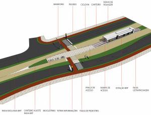 Projeção mostra vias exclusivas para a circulação do Rapidão, em Florianópolis.