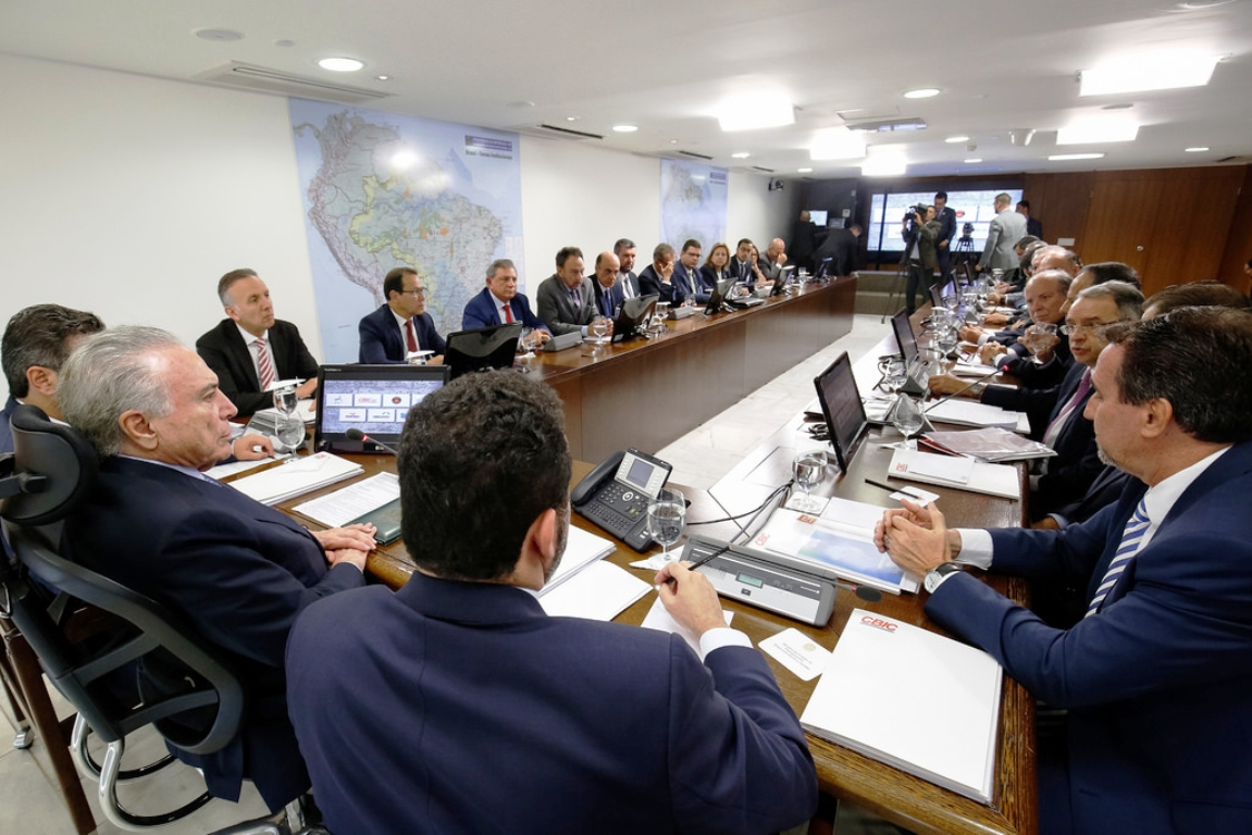 Entidades que representam a Coalizão pela Construção estiveram com o presidente Michel Temer em dezembro de 2017. Crédito: CBIC