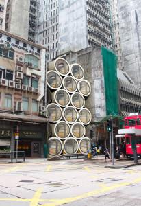 Estruturas de Opods podem ser empilhadas, transformando-se em condomínios viáveis para a moradia da população jovem de Hong Kong. Crédito: JamesLaw Cybertecture