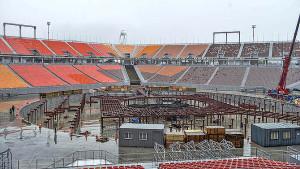 Estádio olímpico de PyeongChang, na Coreia do Sul: uma semana após o evento começou a ser desmontado. Crédito: USATSI