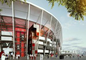 Estádio Ras Abu Aboud, projetado para a Copa do Catar, em 2022: contêineres, estruturas de aço e concreto pré-fabricado. Crédito: Fenwick Iribarren Architects