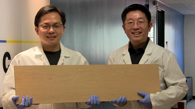 """Liangbing Hu (esq.) e Teng Li (dir.) são os engenheiros da universidade de Maryland que estão à frente da pesquisa com a """"supermadeira"""". Crédito: University of Maryland"""